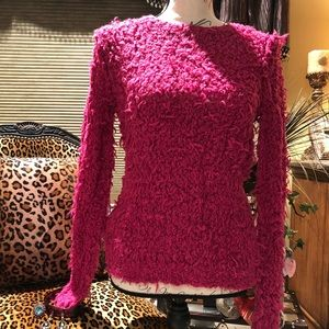 Free People hot pink soft fuzzy sweater